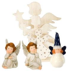 Božični okraski angeli in sveče