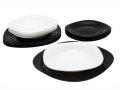 črno beli set krožnikov