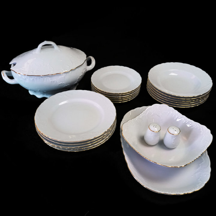 Jedilni servis porcelan  23 kosov - zlati rob