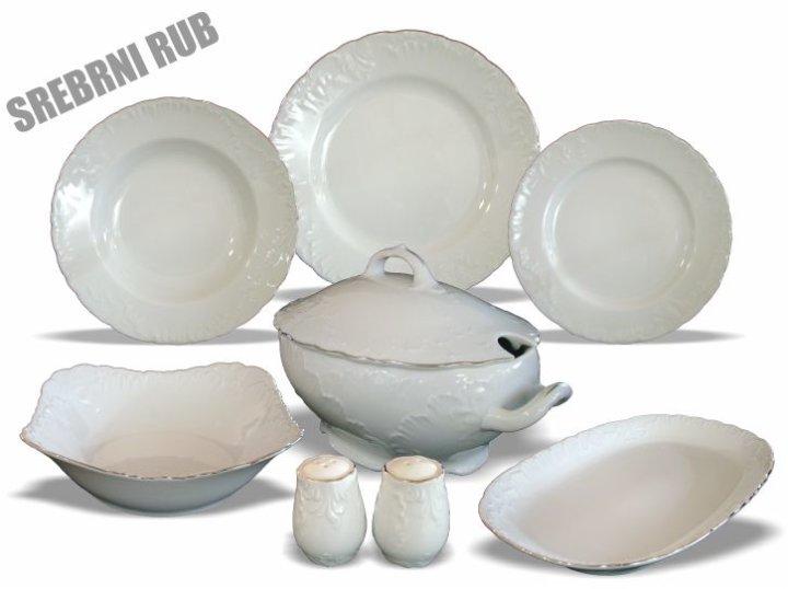 Set krožnikov porcelan 23 delni srebrni rob Rococo