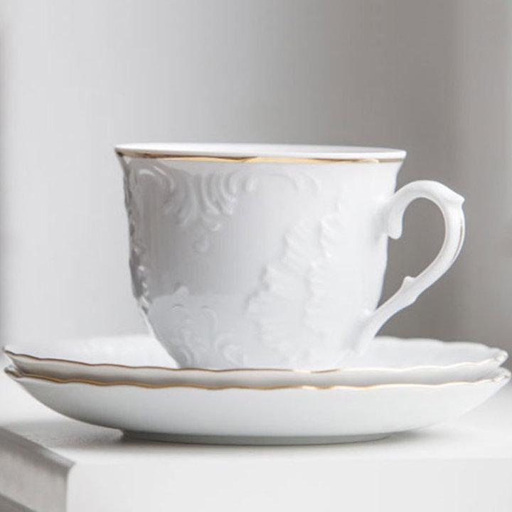 Skodelice za kavo od porcelana, set 6/1 - zlati rob Rococo