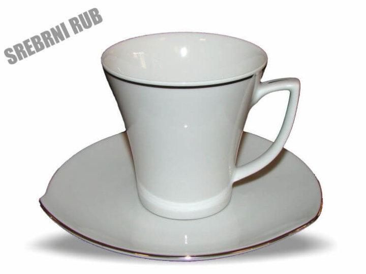 Skodelice za kavo in čaj s podstavkom, porcelanaste, set 6/1 srebrni rub