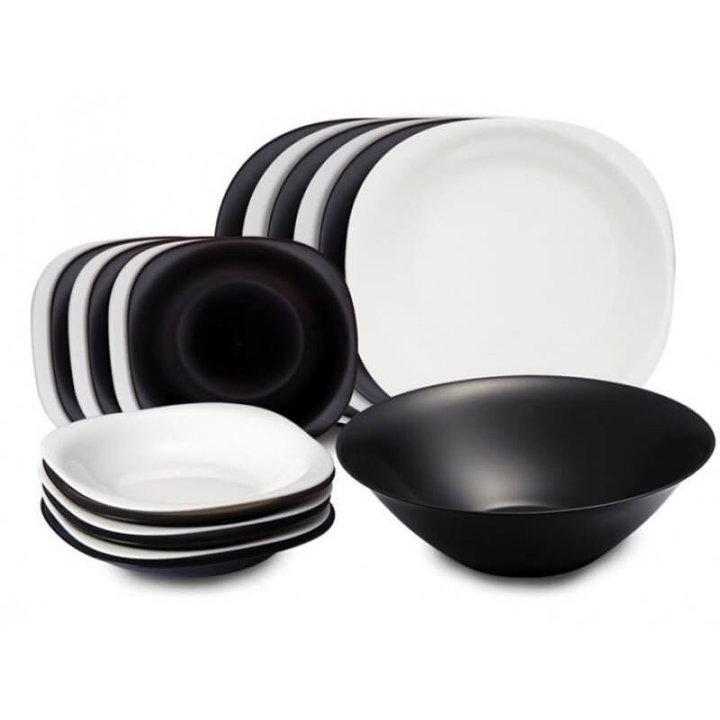 19 delni set krožnikov Carine črno-beli - ovalni