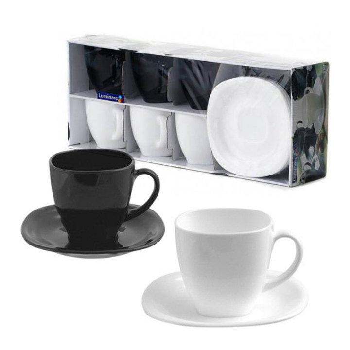 Komplet skodelic za kavo s podstavkom, 6 kosov - črno bele