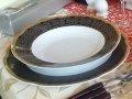 Jedilni servis porcelan 18 delni Bolero - črno zlaten ornament