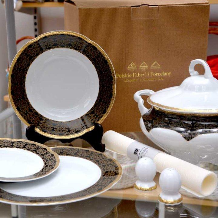 Kakovostni jedilni set iz porcelana 23 delni - črno zlati ornament