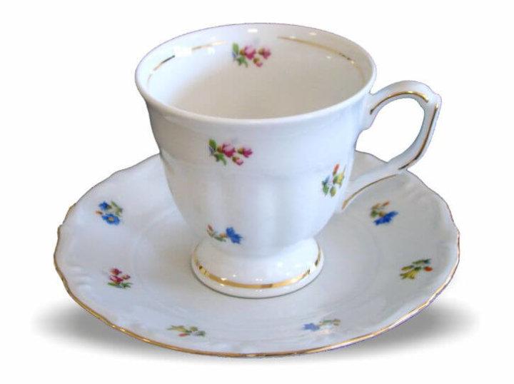 Skodelice za kavo od porcelana, s podstavkom set 6/1