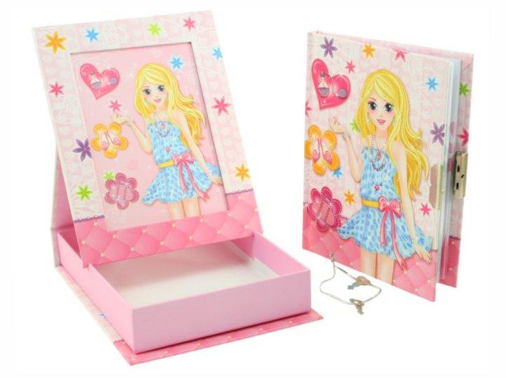 Dnevnik z ključekom v škatli in okvir za sliko