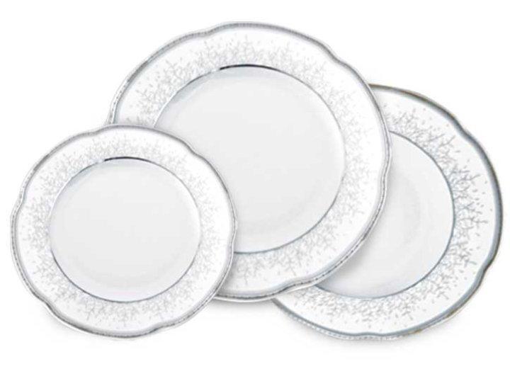 Jedilni servis 18 delni iz porcelana Bolero- srebrni dekor