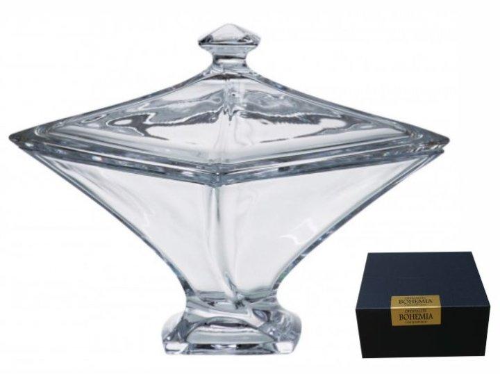 Bombonjera kristalin Quadro 22,5 cm