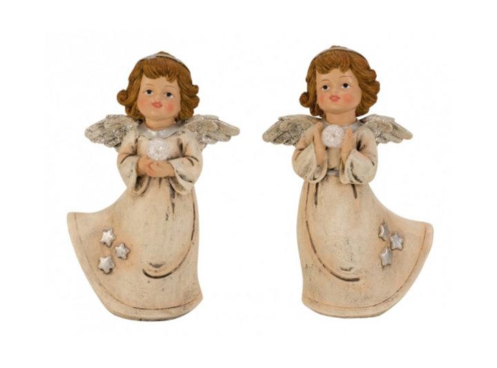 ANGEL FIGURA KREM S KROGLOM 19 CM SORT