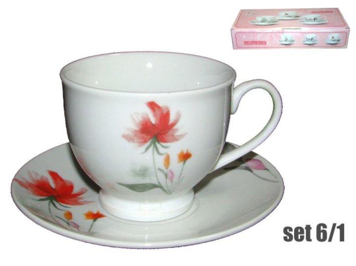 Skodelice in krožniki za kavo - set 6/1, iz porcelana