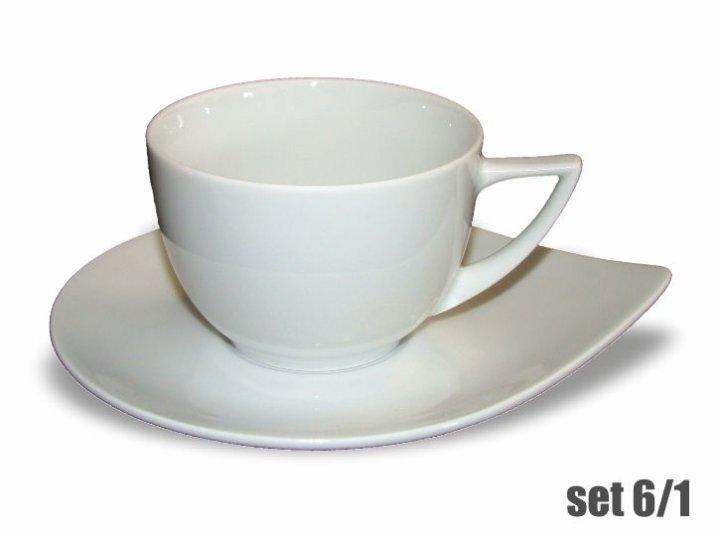 Skodelice za kavo s podstavkom, set 6/1, bele barve