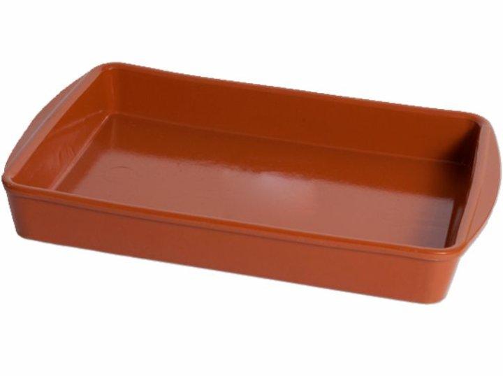 Keramični pekač štirikotni, rjavi 39,5x25,5 CM