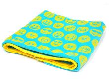 Brisača za plažo 75x150 CM turkizna - rumeni emotikon