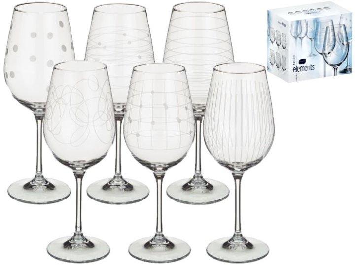 Kozarci za vino na stojalu - Elements, set 6/1, od kristalina - 450 ml