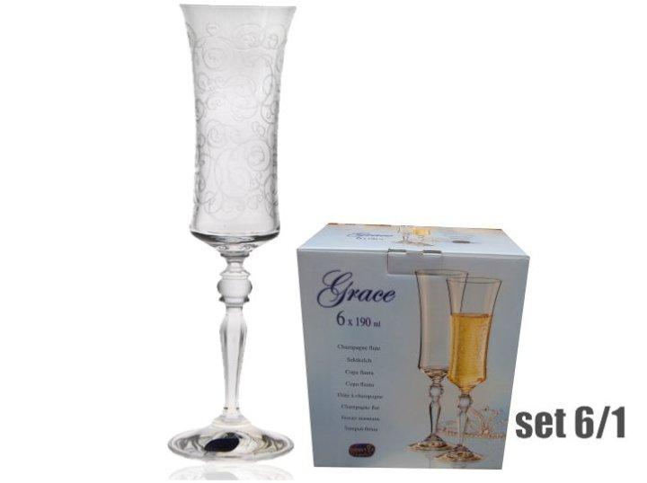 Kozarci za šampanjec Grace - set 6/1, Kristalin