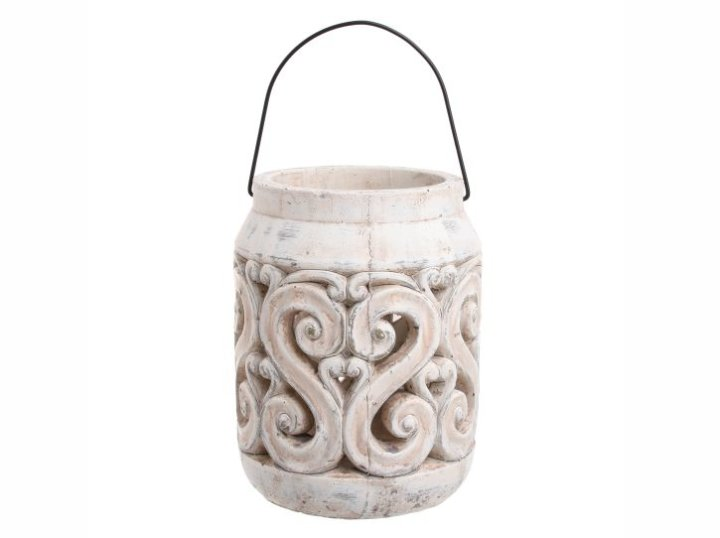 Keramični svečnik lanterna antik krem barve