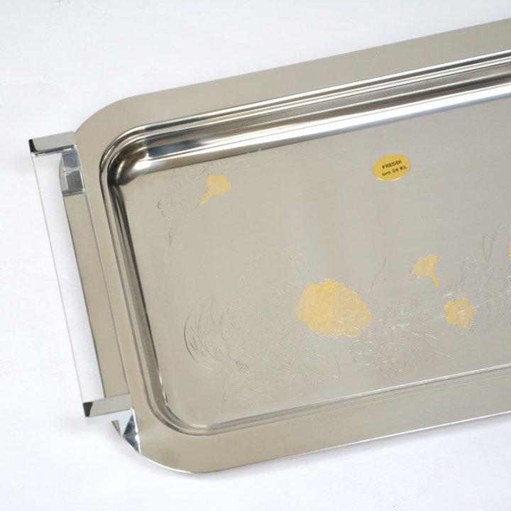 Inox 18/10 posoda z zlatom štirikotna 36 cm