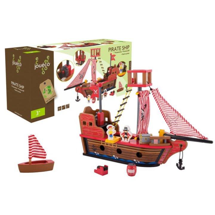 Joueco lesena piratska ladja z dodatki za igro, 7 delni set