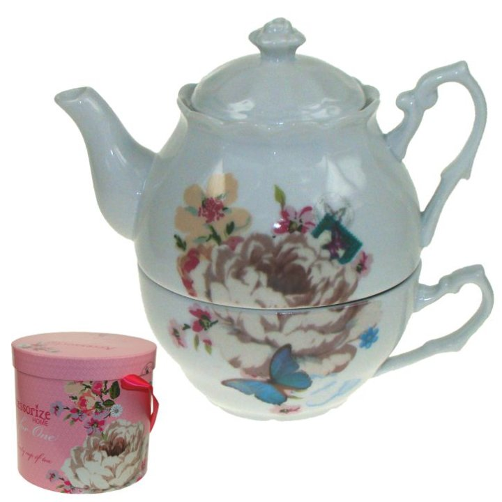 Čajnik s skodelico v darilni škatli, od porcelana