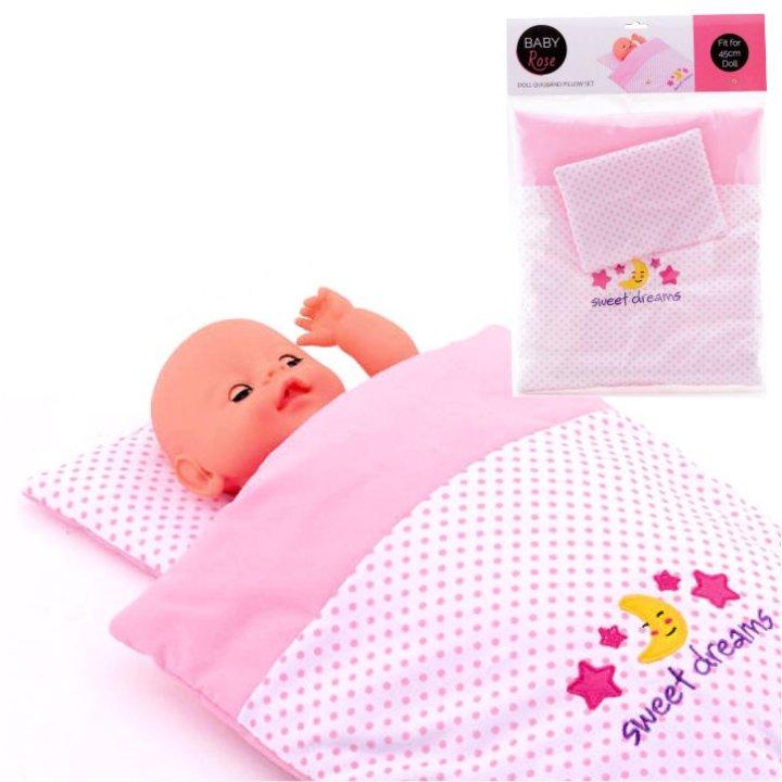 Baby Rose odeja in vzglavnik za punčke - 35x32 cm