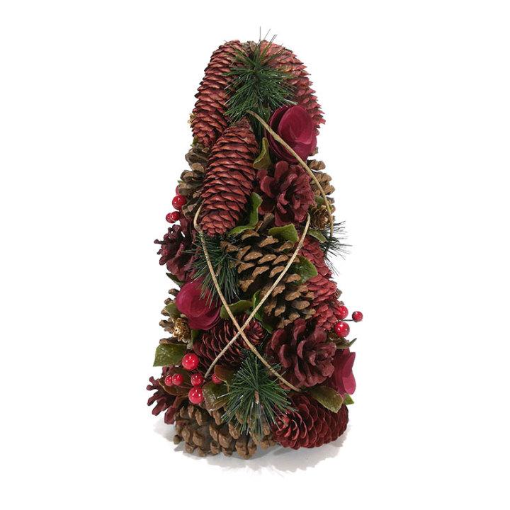 Božični bor s šišarkami in suhim cvetjem 35 cm, rjavo - rdeči
