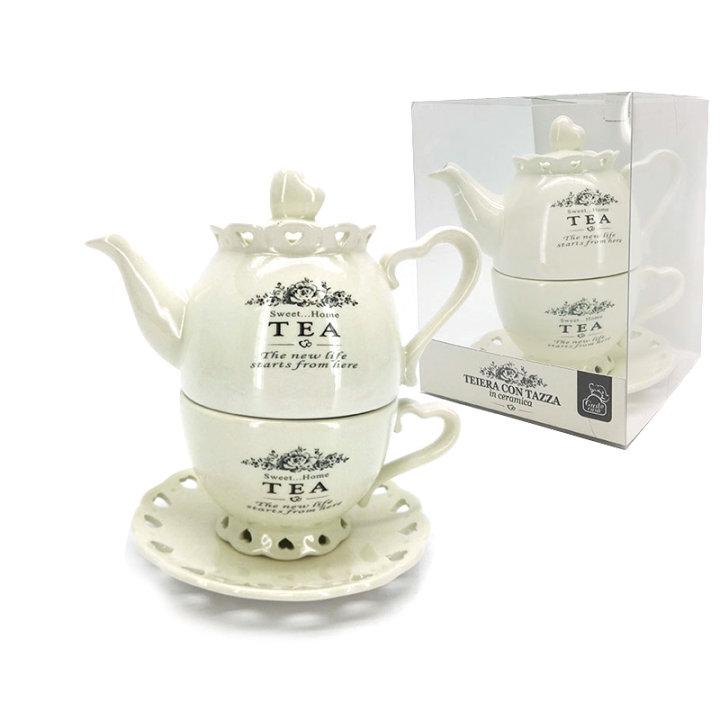 Čajnik s skodelico in podstavkom keramični - Sweet Home