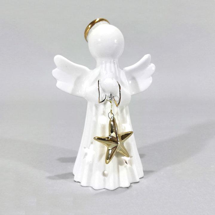 Figura angel keramična s svetlobo in zvezdo 12 cm