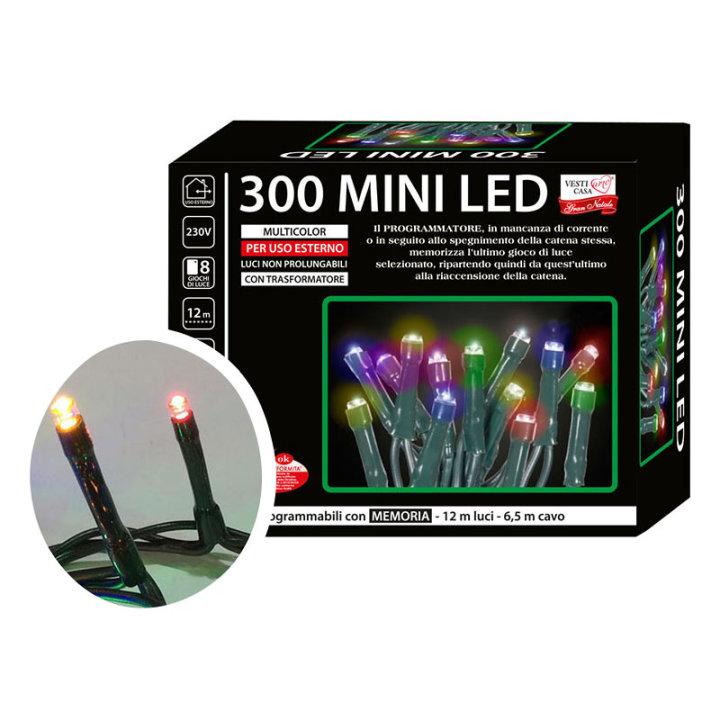 Božične lučke za bor led, set 300/1 multicolor, s funkcijami - zunanje