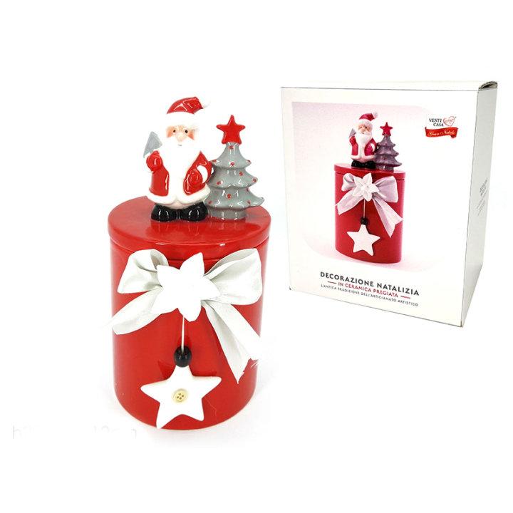 Keramična posoda s pokrovom - božična, rdeča  12x25 cm