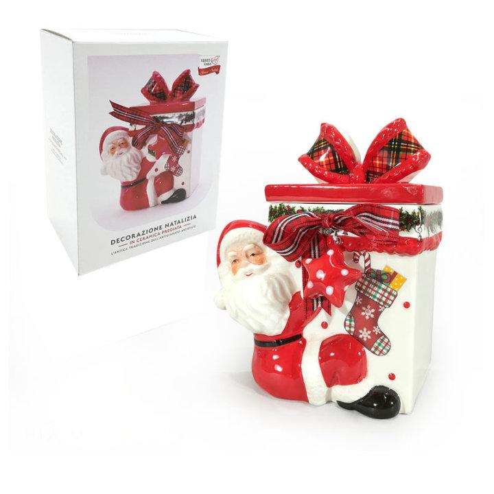Keramična posoda s pokrovom - božično darilo 19 cm