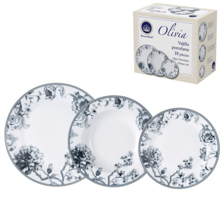 Porcelanski jedilni servis, 18 delni - Olivia Brunchfield