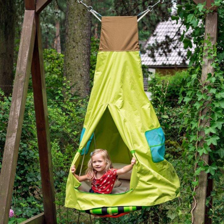 Gugalnica gnezdo s šotorom 2v1, z lučkami 103 cm