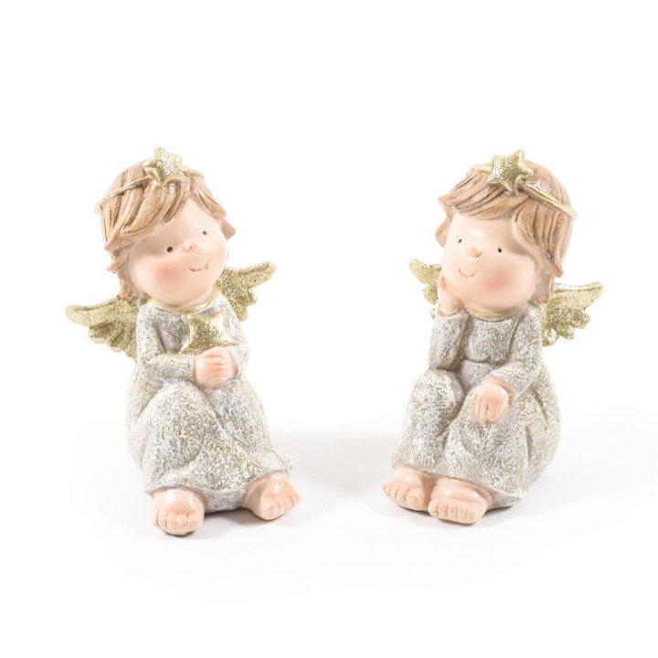 FIGURA ANGEL Z OBLEKICO 5x13 CM - SORT